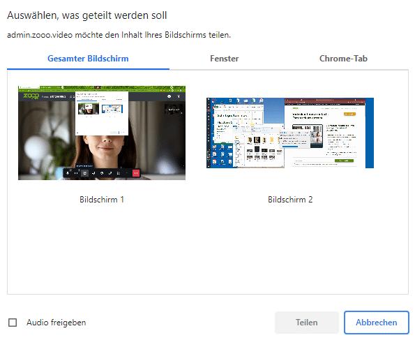 Gesamten Bildschirm teilen