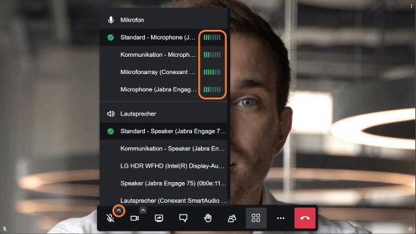 Mikrofon für die Videokonferenz auswählen