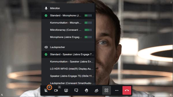 Lautsprecher oder Headset für die Videokonferenz auswählen