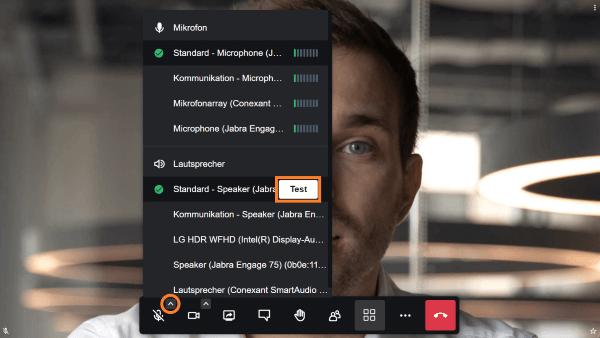 Lautsprecher für die Videokonferenz testen